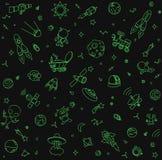 Objetos e símbolos do teste padrão do espaço Mão esboçado garatuja tirada Fotos de Stock