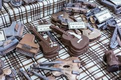 Objetos feitos a mão de Chocolade em um mercado do chocolade Alimento artístico Imagens de Stock Royalty Free