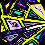 Objetos geométricos abstractos de la pintada en un fondo negro Fotos de archivo libres de regalías