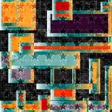 Objetos geométricos abstractos polígonos y estrellas en un fondo negro Fotos de archivo