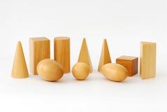 Objetos geométricos de madeira Imagem de Stock Royalty Free