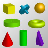 Objetos geométricos isolados Fotografia de Stock Royalty Free