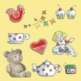 Objetos isolados do grupo de chá dos brinquedos ilustração stock