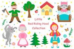 Objetos lindos del sistema del Caperucita Rojo Elemento del diseño de la colección con la muchacha bonita y su abuela, lobo, leña ilustración del vector