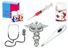 Objetos médicos isolados vetor Imagens de Stock Royalty Free