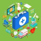 Objetos médicos isométricos de la atención sanitaria 3d doctor plano Pills Chemical Objects Foto de archivo libre de regalías