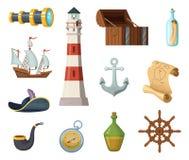 Objetos marinos del vector Pecho, compás, mapa del tesoro y otros objetos en estilo de la historieta ilustración del vector