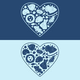 Objetos marinos en la forma de un corazón EPS10 Fotos de archivo