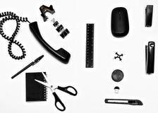 Objetos negros de la oficina Imagen de archivo libre de regalías