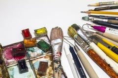 Objetos para artes, escultura, pintura, desenho imagem de stock