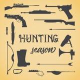 Objetos para cazar las armas Stock de ilustración