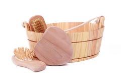 Objetos para el balneario, el baño y la sauna Fotos de archivo libres de regalías