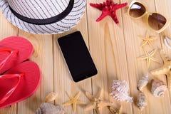 Objetos para las vacaciones de verano en el mar Fotografía de archivo libre de regalías