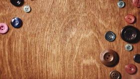 Objetos para tesouras e botões do bordado Imagem de Stock