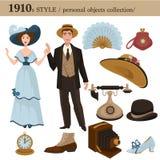 objetos personales del hombre y de la mujer del estilo de 1910 modas stock de ilustración
