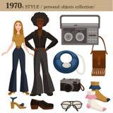 objetos personales del hombre y de la mujer del estilo de 1970 modas ilustración del vector
