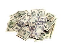 Objetos - pila aislada del dinero Imagenes de archivo