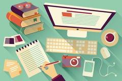Objetos planos del diseño, escritorio del trabajo, sombra larga, escritorio de oficina Imagen de archivo libre de regalías