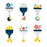 Objetos planos del embudo de las ventas del negocio fijados sobre blanco stock de ilustración