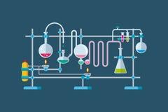 Objetos químicos do equipamento de laboratório com a Fotografia de Stock
