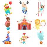 Objetos relacionados y caracteres del circo fijados Foto de archivo