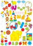 Objetos simples para el jardín de la infancia Foto de archivo