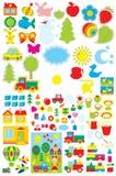 Objetos simples para el jardín de la infancia Imagen de archivo