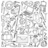 Objetos tirados mão do homem ajustados ilustração stock