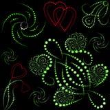 Objetos y corazones coloreados con gradiente Imagen de archivo libre de regalías