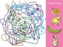 Objetos y formas ocultados hallazgo Juego educativo Tema de los animales Actividad para los niños y los niños ilustración del vector