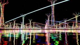 Objets abstraits de lueur de couleur sur la mer clips vidéos