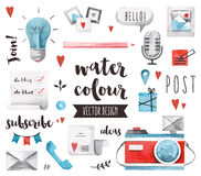 Objets Blogging de vecteur d'aquarelle d'éléments illustration libre de droits