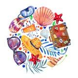 Objets, coquilles et fleurs de plage en composition ronde - valise, verres, chapeau, masque naviguant au schnorchel illustration de vecteur