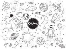 Objets cosmiques réglés Griffonnages tirés par la main de vecteur Rocket, planètes, constellations, UFO, étoiles, etc. Thème de l Photographie stock libre de droits
