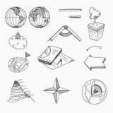 Objets d'école de leçon de géographie et éducatif Image stock