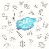 Objets d'été réglés Fond de vacances Image stock