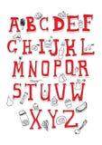 Objets d'alphabet et de nourriture Photo stock