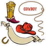 Objets d'Américain de cowboy Photographie stock libre de droits