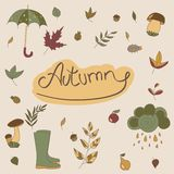 Objets d'automne Objets saisonniers Images stock