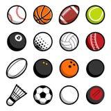 Objets d'isolement par icône de logo de boules de sport de jeu de vecteur réglés Photos libres de droits