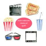Objets de cinéma d'aquarelle Photo stock