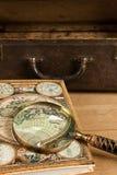 Objets de déplacement d'Antigue. Photographie stock