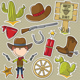 Objets de With Wild West de cowboy Image stock