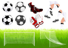 Objets du football Images stock