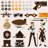 Objets et caractères de Steampunk réglés Dirigeable, lunettes, vitesses, revolver démodé Photo stock