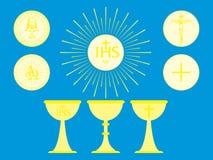 Objets liturgiques chrétiens Pain et calice consacrés par centre serveur illustration stock