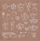 Objets orientaux de cérémonie de thé Images stock