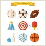 Objets plats de sports réglés Image libre de droits