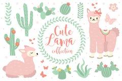 Objets réglés de lama mignon Éléments de conception de collection avec le lama, cactus, belles fleurs D'isolement sur le fond bla illustration libre de droits