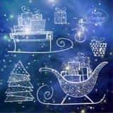 Objets tirés par la main de croquis de Noël Image libre de droits